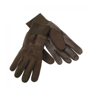 DH8761 Deerhunter Fleece Gloves with Leather - 376 Art Green