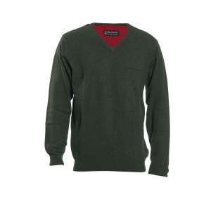 DH8831 Deerhunter Brighton Knit V-neck - 331 Green
