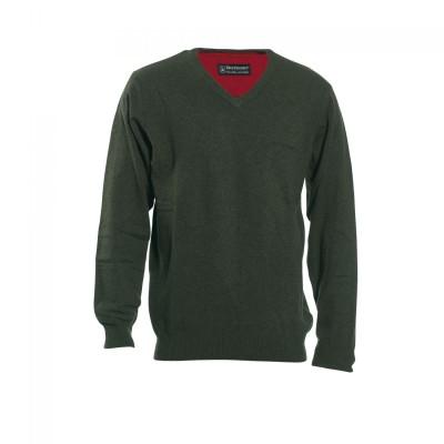 DH8831 Deerhunter Brighton Knit V-neck - 331 Green