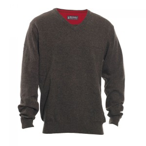 DH8831 Deerhunter Brighton Knit V-neck - 383 Dark Elm