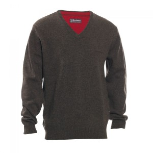 DH8841 Deerhunter Hastings Knit V-neck - 383 Dark Elm