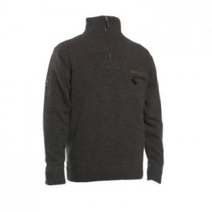 DH8870 Deerhunter Kendal Knit with Zip Neck - 383 Dark Elm