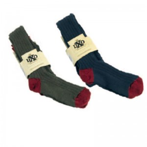 DXO 810 Deerhunter Knee Socks- 771 Graphite Blue w. Burgandy Trim