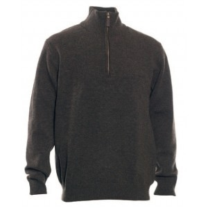 DH8842 Deerhunter Hastings Knit w. Zip-neck - Dark Elm.