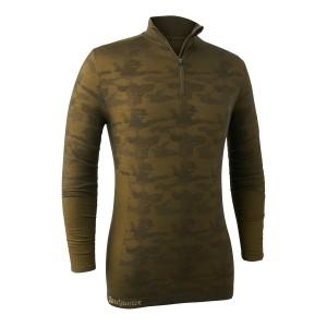 DH7046 Camou Wool Undershirt w. Zip Neck - Beech Green
