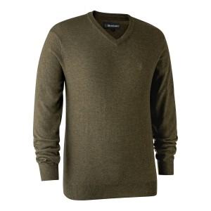8349  Kingston Knit with V-neck - 346 Cypress / 356 Green Melange / 383 Dark Elm / 441 Red / 471 Burgundy / 649 Golden Oak / 786 Dark Blue