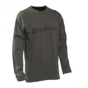DH8839 Deerhunter Logo T-Shirt (l/s) w. DEERHUNTER - 378 Bark Green
