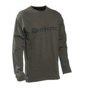 DH8939 Deerhunter Logo T-Shirt (l/s) w. DEERHUNTER - 378 Bark Green